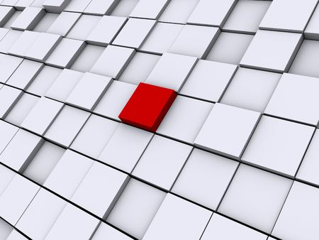 Image of a grid of cubes one cube is red