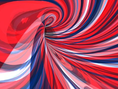 3D Image of red, white and blue lines reflected on a mirrored tube.