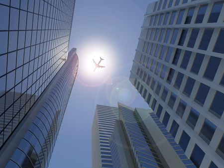 Image of a jet flying across a modern city scape