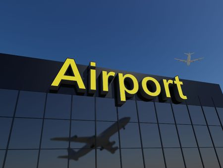 3D Image of a modern airport terminal