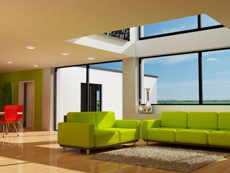 green sofa: Modern interior design
