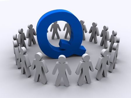 q: A team of people surround the letter Q