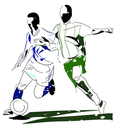 abstract image of two football players Stock Photo