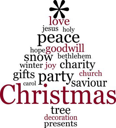 Christmas tree word tag cloud abstract image