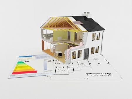 Image d'une nouvelle maison avec un certificat d'�conomie d'�nergie Banque d'images - 6030233