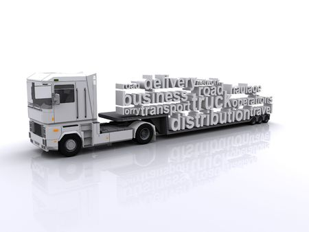 Lorry with tag cloud load Stock Photo