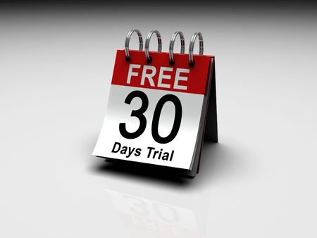 A calendar with 30 Days Free trial printed on the date Stock Photo