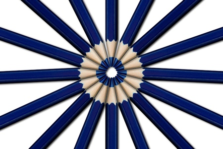 A group of blue pencils laid in a circle point to point