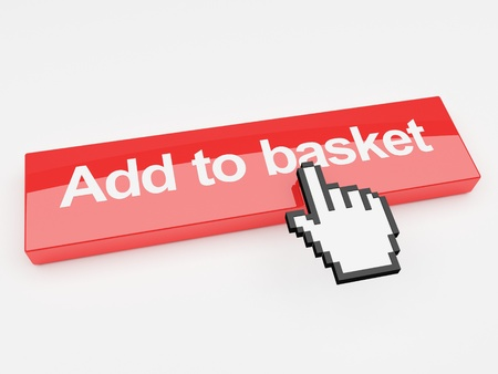 A 3d image of a button with add to basket printed on its face with a mouse pointer. Stock Photo - 9876320