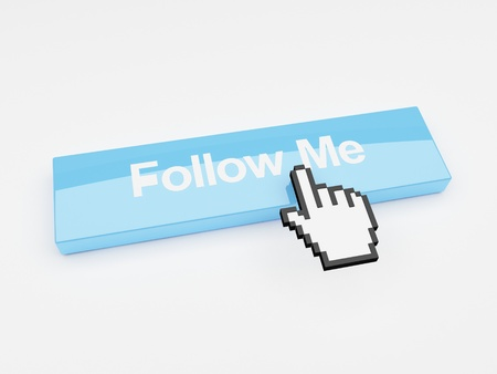 A mouse pointer hovering over a button that says follow me. Stock Photo - 9876317
