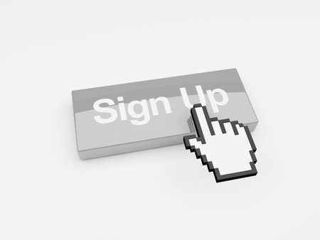 opt: A mouse pointer hovering over a button with the words Sign Up printed on its face