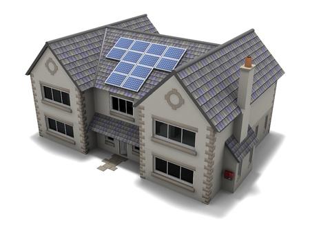 Solar Panel House Stock Photo