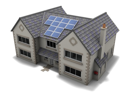 solar panel roof: Solar Panel House Stock Photo