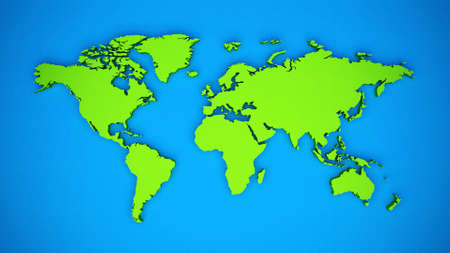 Colored 3D world map theme Stock Photo