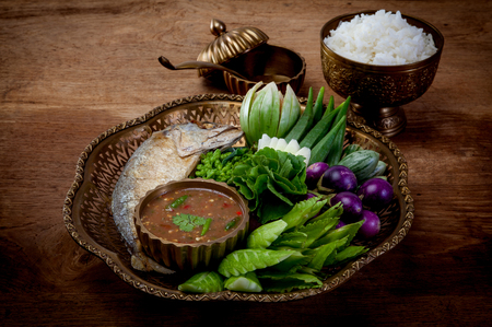 Shrimp paste sauce and vegetable set. Thai food Фото со стока