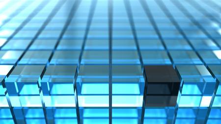 black block: resumen de antecedentes 3d cubos de color azul con un bloque negro.
