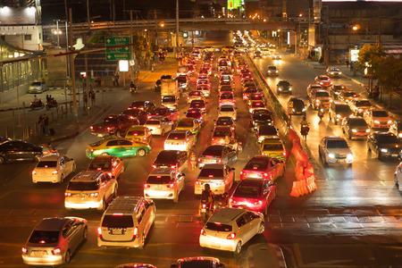 BANGKOK THAILAND - AUGUST 9 : traffic jam at ASOKE junction in august 9 Bankok,Thailand. Editoriali