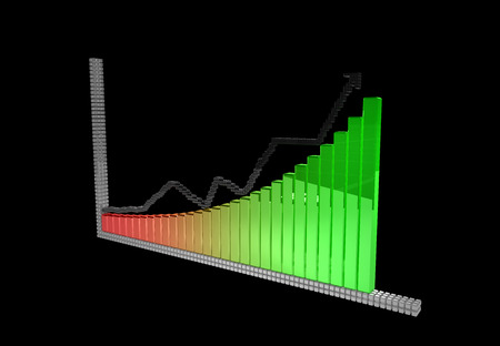 upside graph symbol from 3D pixels on the black background. Archivio Fotografico