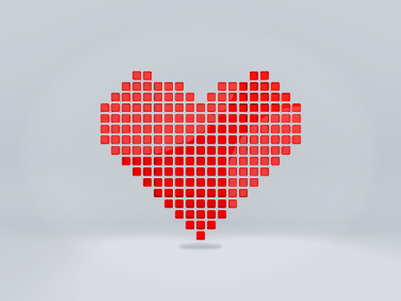 Heart symbol from 3D pixels.