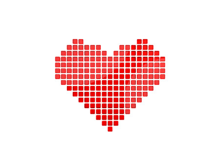 Heart symbol from 3D pixels.on the white background.