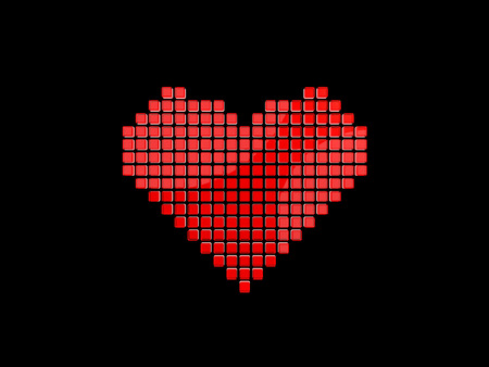 Heart symbol from 3D pixels on the black background.