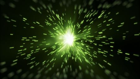 Green ray light diffused from center abstract background.