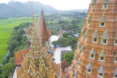 sua: Bird eye view of wat tham sua temple.