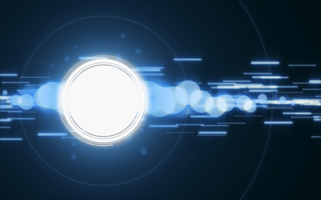 Blue abstract background with white circle.