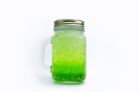 Green italian soda isolated on white background