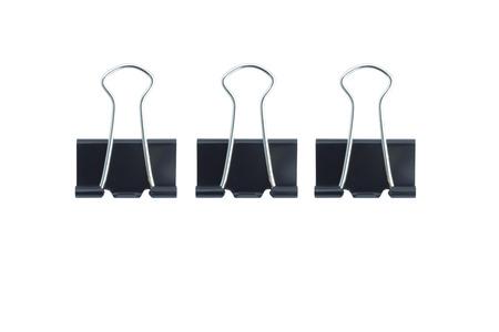 Three black baper clips on white background. Archivio Fotografico