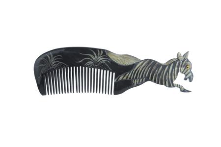 Black hairbrush zebra design isolated with white background.