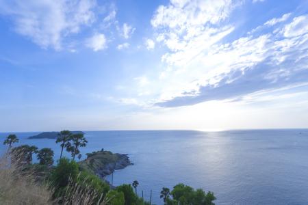 wide angle sea and island with blue sky.