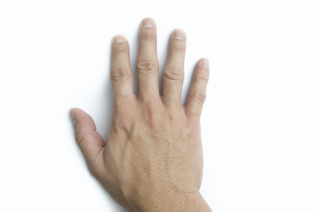 Male hand. Isolated on white background