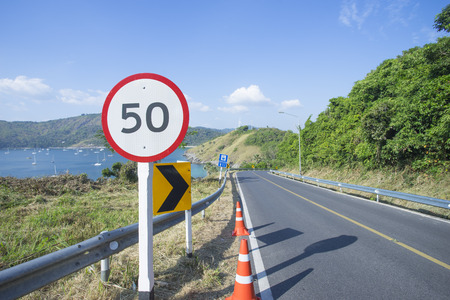 50 number: Number 50 label on the road. Stock Photo