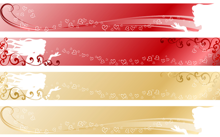 "stylish vector banners with a wedding/valentine's day theme. ""Full Banner"" format. Graphics are grouped and in several layers for easy editing. The file can be scaled to any size."