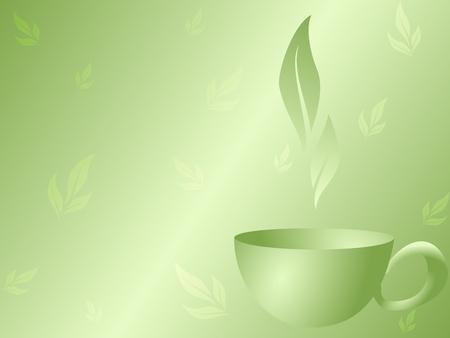 stijlvolle vector achtergrond met een groene thee ontwerp. Graphics zijn gegroepeerd en in verschillende lagen voor eenvoudige bewerking. Het bestand kan worden geschaald naar elke grootte. Stock Illustratie