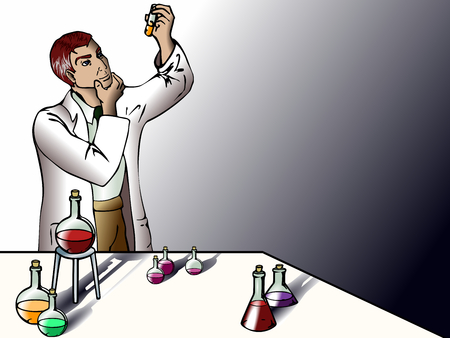 Comic-style vector of a male scientist in the lab, experimenting with liquids. Graphics are grouped and in several layers for easy editing. The file can be scaled to any size.  Vector