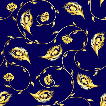 インドのサリーに触発黄金パターンとスタイリッシュなベクトルの背景。タイルをシームレスに結合できます。グラフィックをグループ化および簡  イラスト・ベクター素材