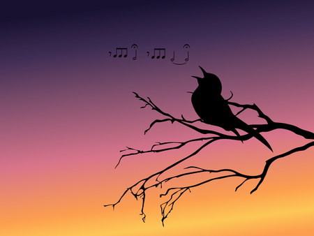 perching: Background with a silhouette of a singing bird. Graphics are grouped and in several layers for easy editing. The file can be scaled to any size.