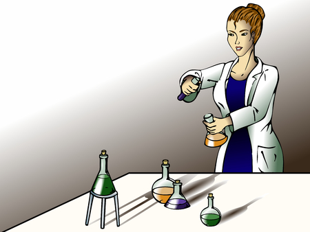 lab coats: Female scientist in the lab. Graphics are grouped and in several layers for easy editing. The file can be scaled to any size.