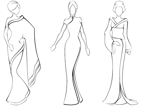 sari: Sketch de las mujeres en vestidos tradicionales de Asia. El archivo puede hacerse a escala en cualquier tama�o.