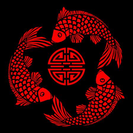 ornamental fish: Lacquer tegola con pesce design. Il file pu� essere scalata a qualsiasi dimensione.