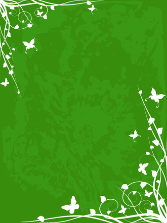 verdant: Springtime grunge background. Graphics are grouped and in several layers for easy editing. The file can be scaled to any size.