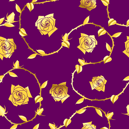 Gold-on-Purple seamless rose sari pattern. The tiles can be combined seamlessly. Graphics are grouped and in several layers for easy editing. The file can be scaled to any size   Vector