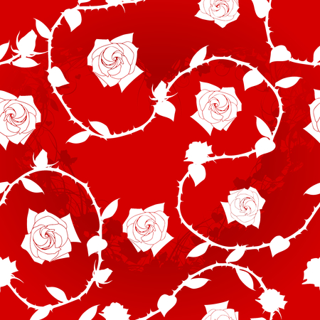 White-on-Red seamless rose sari pattern. The tiles can be combined seamlessly. Graphics are grouped and in several layers for easy editing. The file can be scaled to any size  Vettoriali