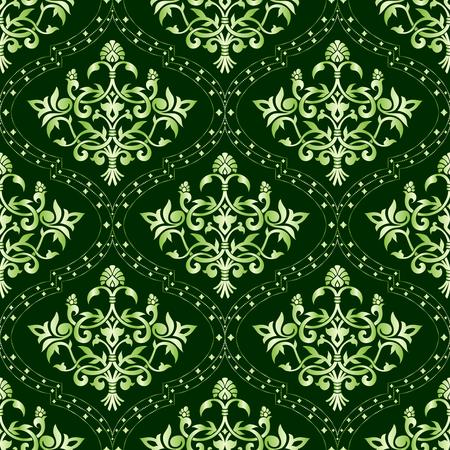 Naadloze groene bloemen patroon. De tegels kunnen worden gecombineerd naadloos. Graphics zijn gegroepeerd en in verschillende lagen voor eenvoudige bewerking. Het bestand kan worden geschaald naar elke grootte Stock Illustratie