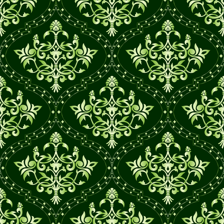 Seamless green floral pattern. The tiles can be combined seamlessly. Graphics are grouped and in several layers for easy editing. The file can be scaled to any size  Vector