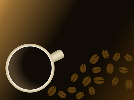 scaled: Stylish background with a coffee cup and beans. Graphics are grouped and in several layers for easy editing. The file can be scaled to any size.  Illustration