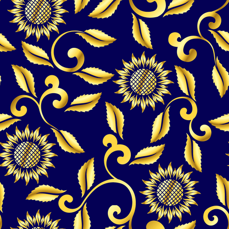 Seamless sunflower and swirls sari pattern.The tiles can be combined seamlessly, Graphics are grouped and in several layers for easy editing. The file can be scaled to any size.  Vector