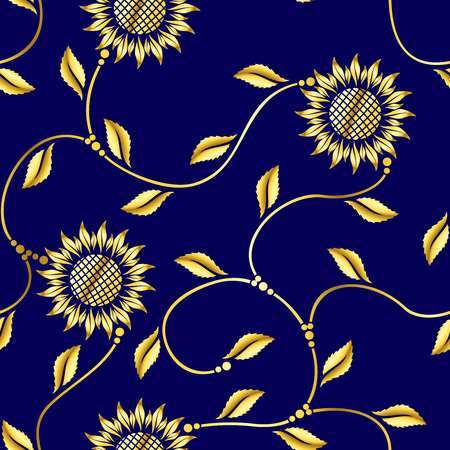 Seamless sunflower arabesque sari pattern.  The tiles can be combined seamlessly, Graphics are grouped and in several layers for easy editing. The file can be scaled to any size.  Vector